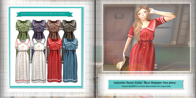 {amiable}Sailor Collar Maxi Summer One-piece