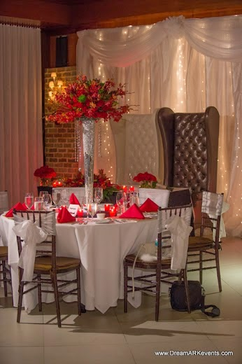 Red and white wedding reception tall centerpiece