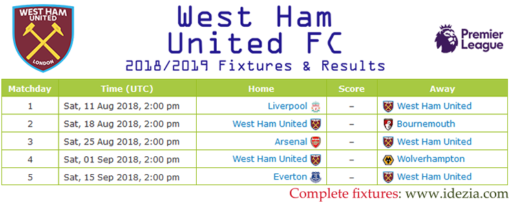 Download Full Fixtures PNG JPG West Ham United 2018-2019