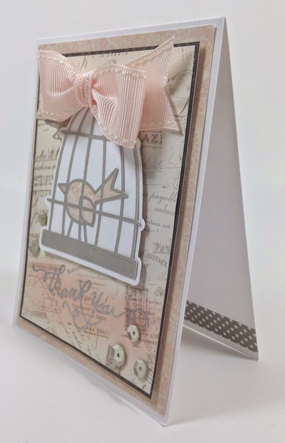 Cricut birdcage thank you card sideview
