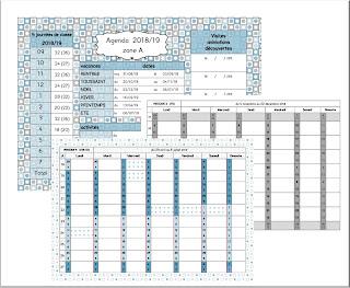 calendrier enseignant pour les 3 zones France, Belgique, Guadeloupe