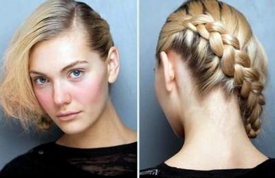 Model rambut pendek dengan kepang wanita