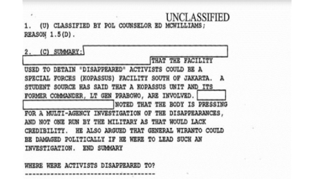 Mengupas Dokumen Rahasia AS tentang Penculikan Aktivis 98
