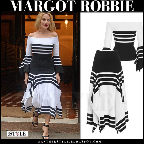 Margot Robbie in black and white off shoulder top and matching midi skirt rosetta getty what she wore