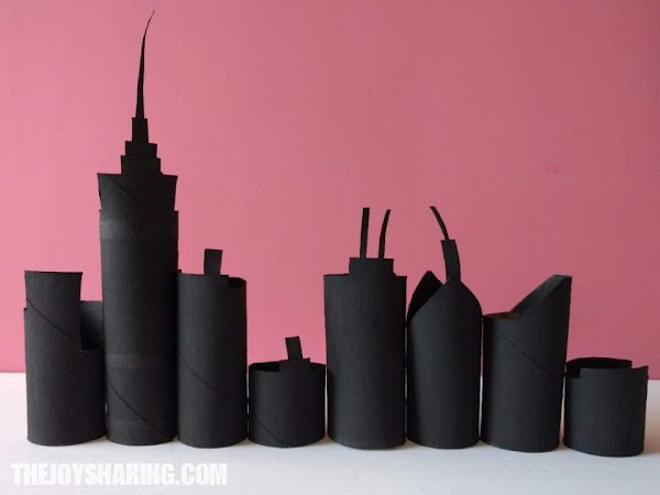 If you're looking for what to do with empty toilet paper rolls, here is the tutorial for making cardboard tube skyline.