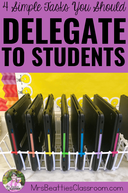 "Photo of iPad storage with text, ""4 Simple Tasks You Should Delegate to Students."""