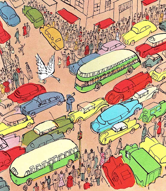 A Roger Duvoisin children's book illustration of city traffic