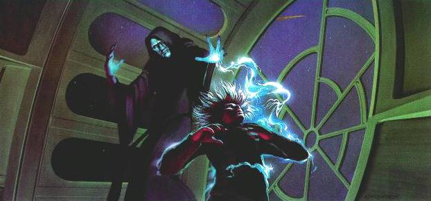 concept art luke getting struck by force lightning