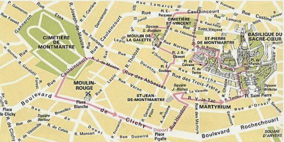 mapa de montmartre