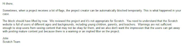 Scratch MIT Team unbanned feedback e-mail