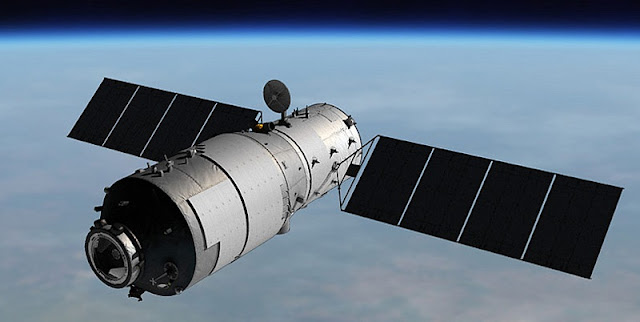 Artist's rendition of Tiangong-1 in Earth orbit. Image Credit: CMSA