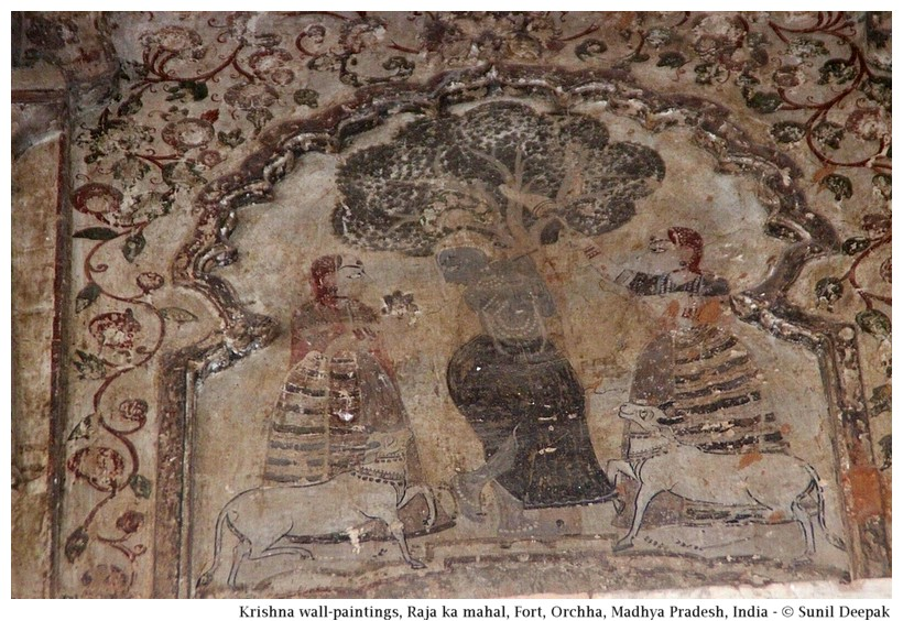 Krishna wall-painting, Raja ka Mahal, Fort, Orchha, Madhya Pradesh, India - Images by Sunil Deepak