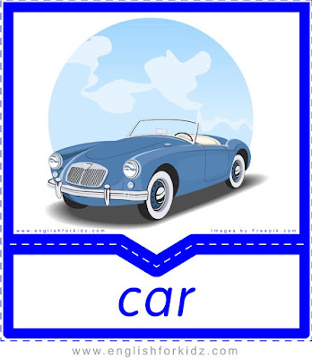 car, free printable transportation pictures and words flashcards