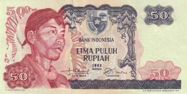 50 rupiah 1968 depan