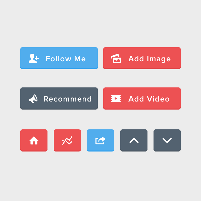 Flat Rounded Buttons PSD Set