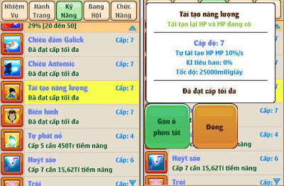 Ngọc rồng online - Skill tái tạo năng lượng