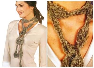 Bufanda tejida con estilo collar patrón ganchillo