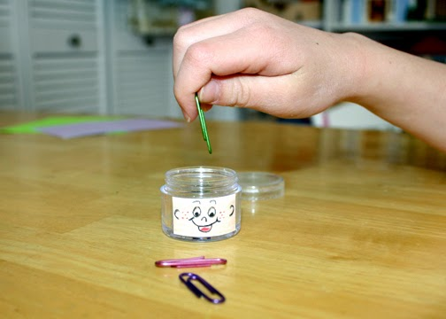 """While pretending this jar was a person and the paper clips were ideas, Tessa and I talked about what we can do to listen with an open mind. This was just one of several problem-solving games we played from """"Talk and Work It Out"""" by Cheri J. Meiners M.Ed."""