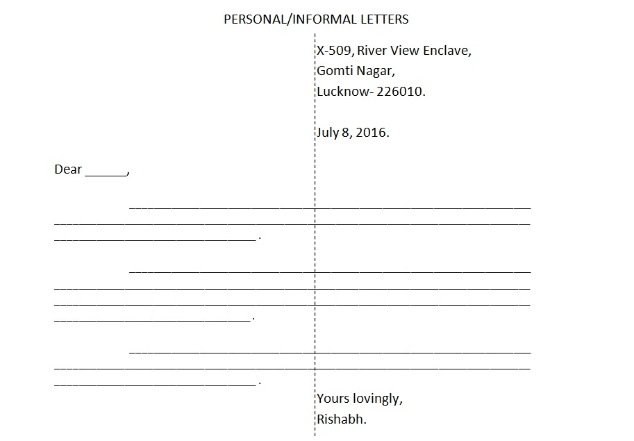 informal letter format and rules