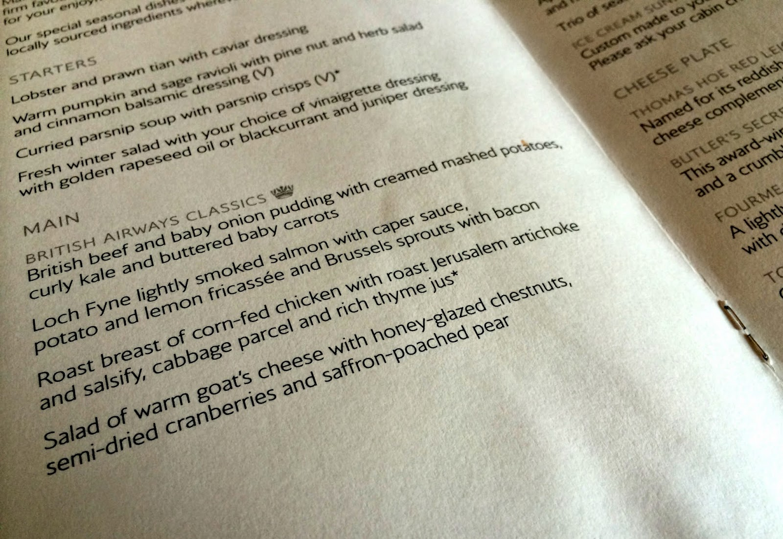 British Airways First Class Menu