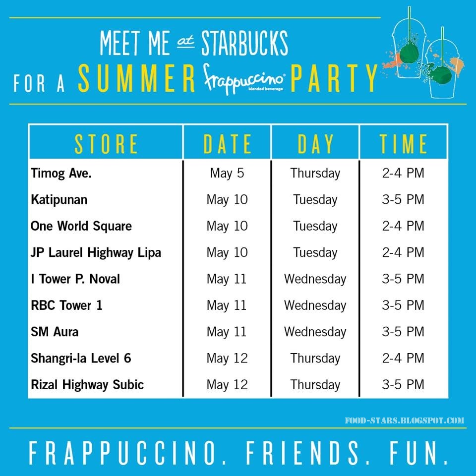food-stars: summer frappuccino party at starbucks 6750 ayala ave