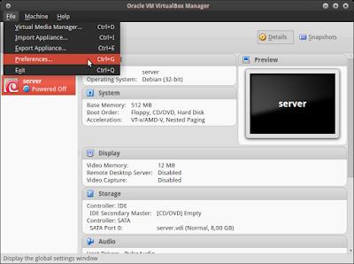 Dilinux kita atur dulu interface virtualboxnya dengan cara klik file > preference