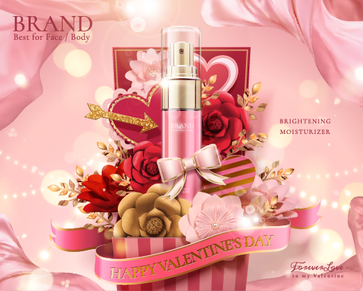 Valentines day cosmetics ads poster template vectors