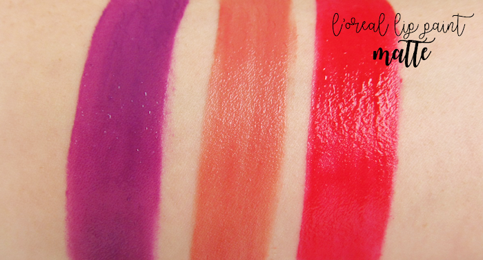 loreal lip paints matte swatches: wuthering purple, hollywoodbeige, red actually