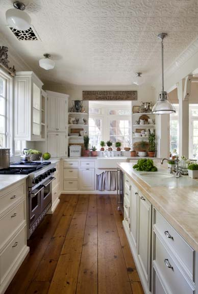 Charming farmhouse kitchen in beach cottage by Brooke Giannetti