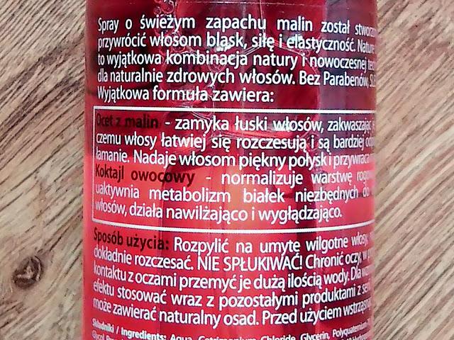Marion, Nature Therapy - Spray regenerujący włosy, Ocet z malin & koktajl owocowy - Dla każdego rodzaju włosów, szczególnie wymagających wzmocnienia, etykieta
