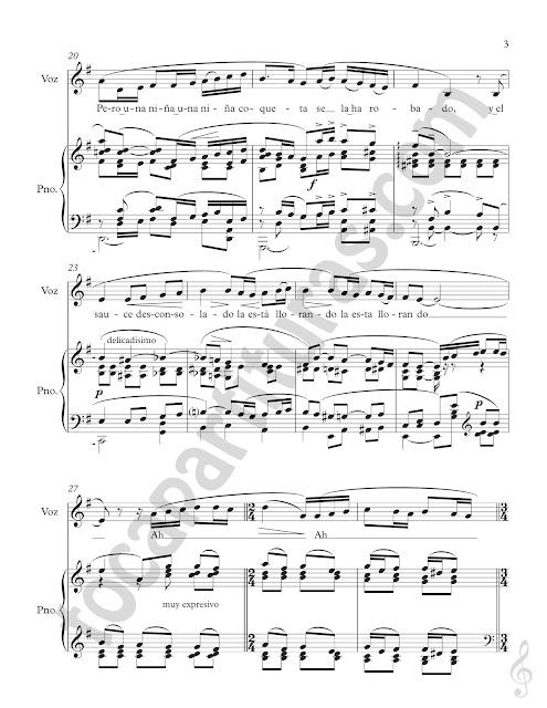 3 Partitura de La Rosa y el Sauce para Voz y Piano acompañamiento Piano and Vocie Sheet Music