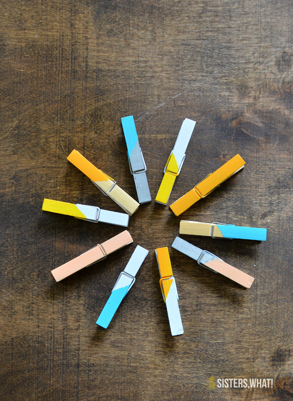 DIY color block clothes pins