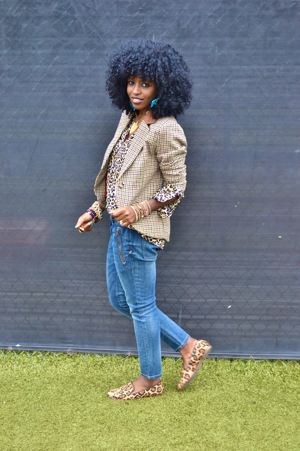style pantry hair look of the week plaid blazer leopard print shirt 8904
