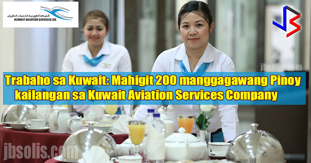 Kuwait Aviation Services Company or KASCO is in need of 271 Filipino workers for their ongoing expansion project. Currently, there are about 100 Filipinos working in the company, including waiters, bakers, and chefs.  Chef Marlon, a Filipino who works in KASCO says the company is good, they give good benefits. It is one of the best (companies) in Kuwait.  The company requires waiters, waitresses, bakers, sweets maker, commissary II, assistant coordinator, and quality control.  The estimated basic salary for each position is as follows: waiter: P24,750 waitress: P24,750 baker: P26,070 sweets maker: P26,070 commissary II: P33,990 assistant coordinator for handling: P26,070 assistant coordinator for handling: P26,070 quality control: P33,000 to P82,500 Apart from the competitive and tax-free salary, employee are given free housing, transportation benefits, food allowance and a free plane ticket back to the Philippines after the two-year contract is finished.  Applicants are invited for an interview on August 13-18, 2017 at the Crown Regency Hotel in Makati City.   Interested individuals must submit his or her Curriculum Vitae to:  Yaazeemir International Manpower Agency Room 405, Building 1563, F. Agoncillo, corner Pedro Gil Street Ermita, Manila  For inquiries, prospective applicants can call Tel. Nos. 230 3090 or 230 2514  Submitting CV earlier is advised. Look for Ms. Jane Suzaine Dar Juan.  source: ABS-CBN, Yaazeemir International Manpower Agency   Disclaimer: jbsolis.com is NOT a recruitment agency. We only gather and put together several information already posted in official websites and news organizations for our followers. This allows our followers to simply go to our social media page or website to know the latest news, job openings and how to's.