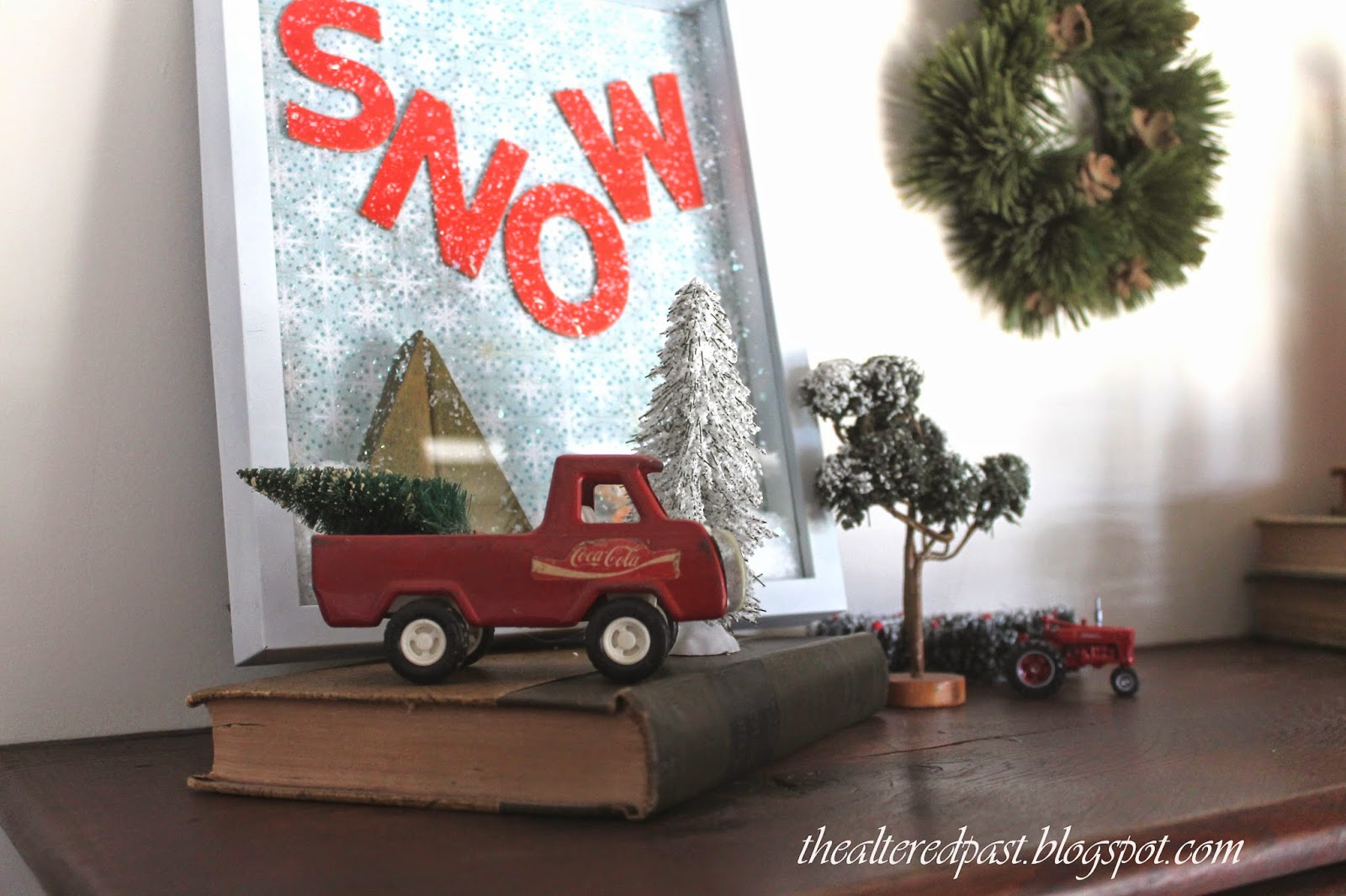 snow globe picture, vintage toy truck, christmas decor, the altered past