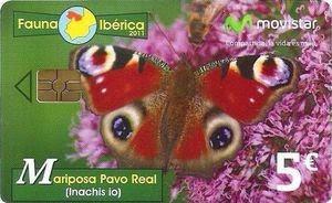 Tarjeta telefónica Mariposa pavo real (Inachis io)