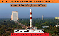 Satish Dhawan Space Centre Recruitment 2017– Engineer