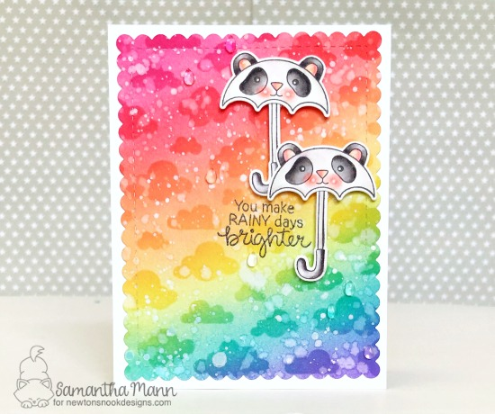 You Make Rainy Days Brighter Card by Samantha Mann | Umbrella Pals Stamp Set and Cloudy Sky Stencil by Newton's Nook Designs #newtonsnook #handmade