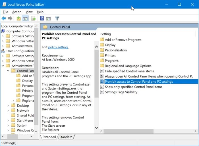 How to Turn On or Off Settings & Control Panel in Windows 10 via
