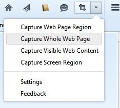Icône d'easy screenshot et son menu déroulant