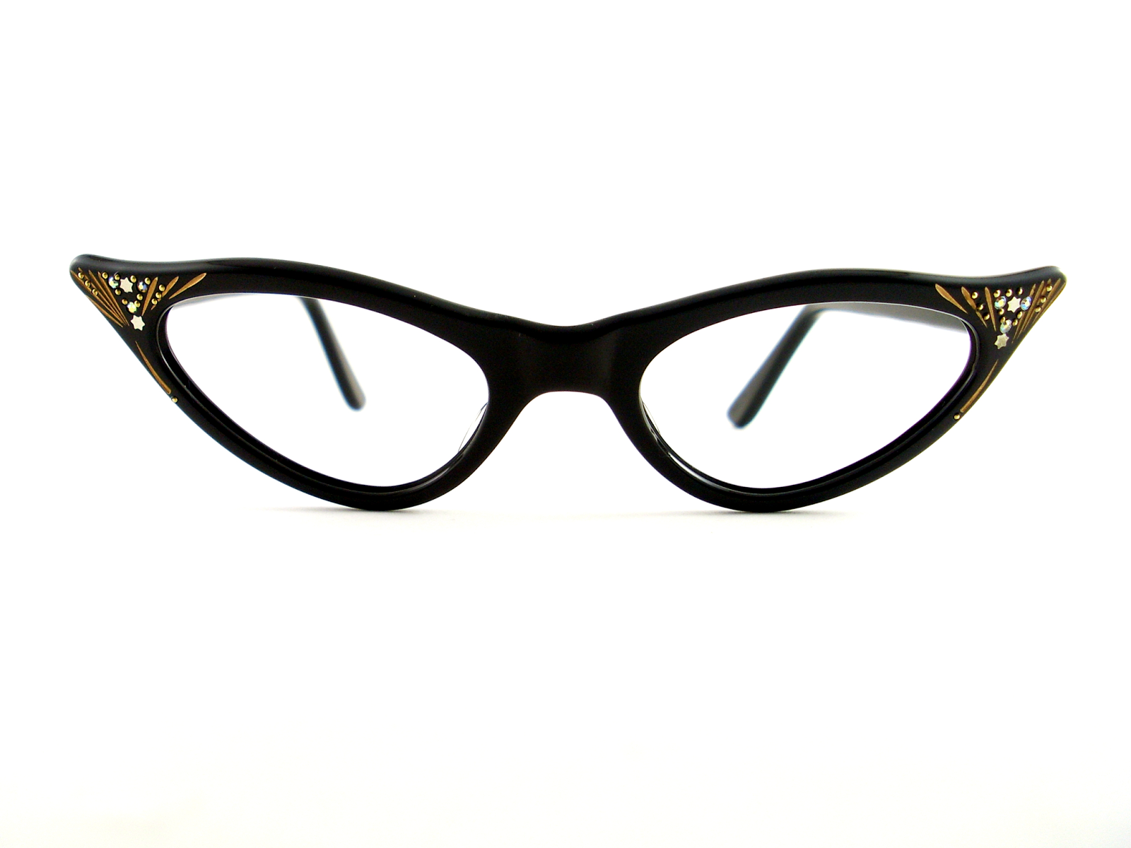 baba143ec0 VINTAGE CAT EYE EYEGLASSES SOLID BLACK GLOSS FRAME. THE WING AREA IS  DECORATED WITH SILVER STAR STUDS
