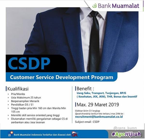 Lowongan Kerja Bank Muamalat Pendidikan D3 S1 Maret 2019