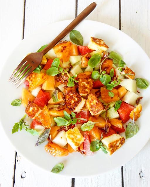 Ma salade de melons/jambon/halloumi