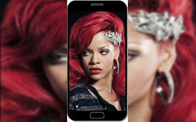 Rihanna Cheveux Longs Rouges - Fond d'Écran en QHD pour Mobile