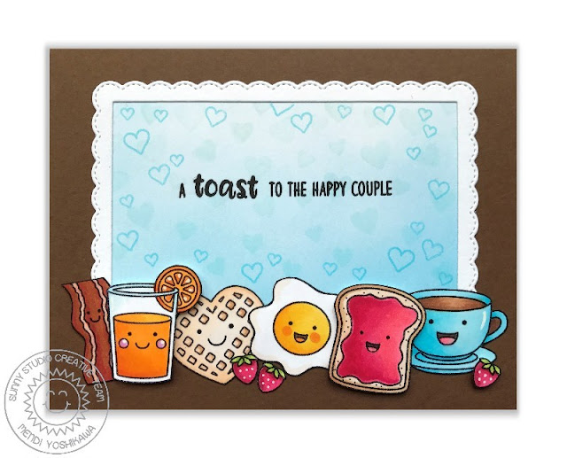 Sunny Studio Stamps: Breakfast Puns A Toast To The Happy Couple Card by Mendi Yoshikawa