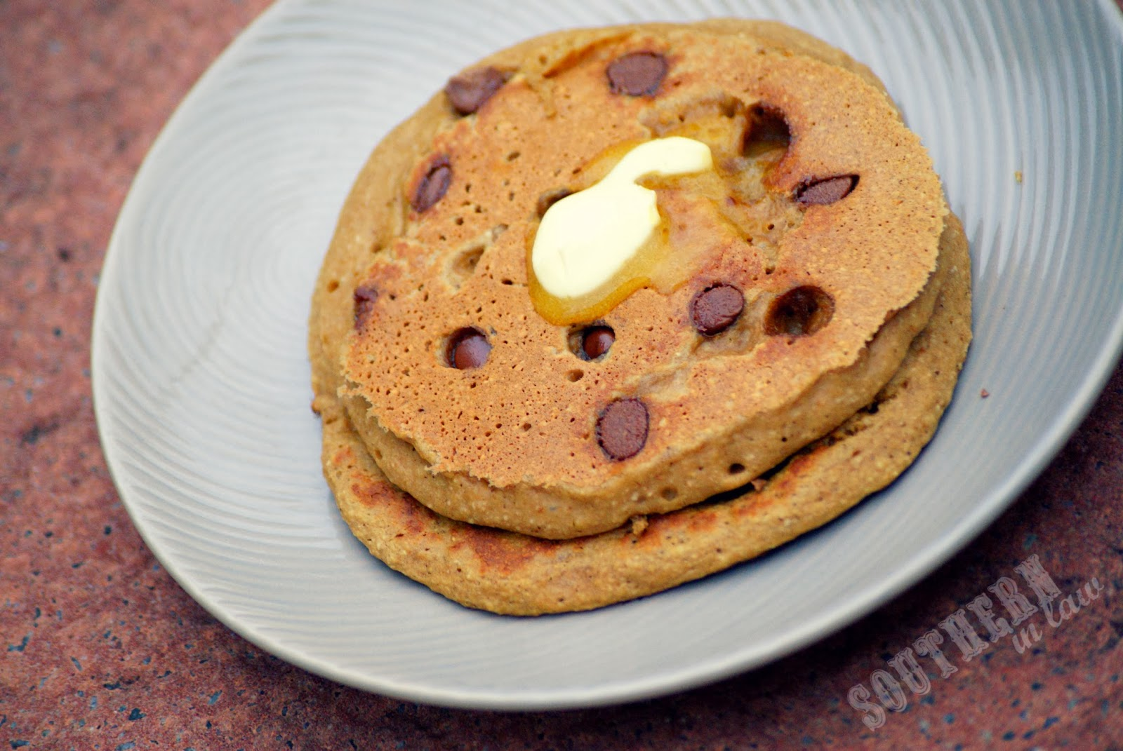 Peanut Butter Chocolate Chip Pancakes for Valentines Day