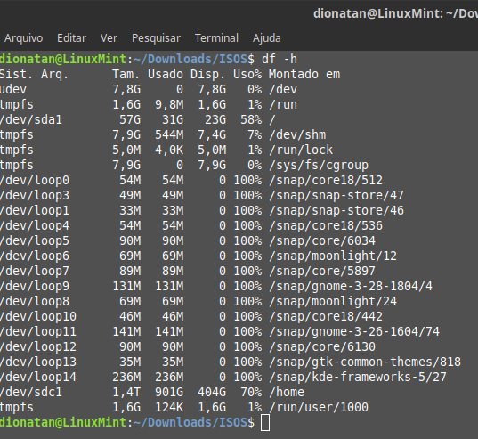 Ver utilização de disco via linha de comando