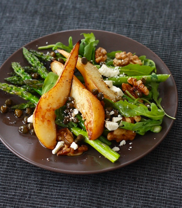 Caramelized Pear and Asparagus Salad with Caper Vinaigrette by SeasonWithSpice.com