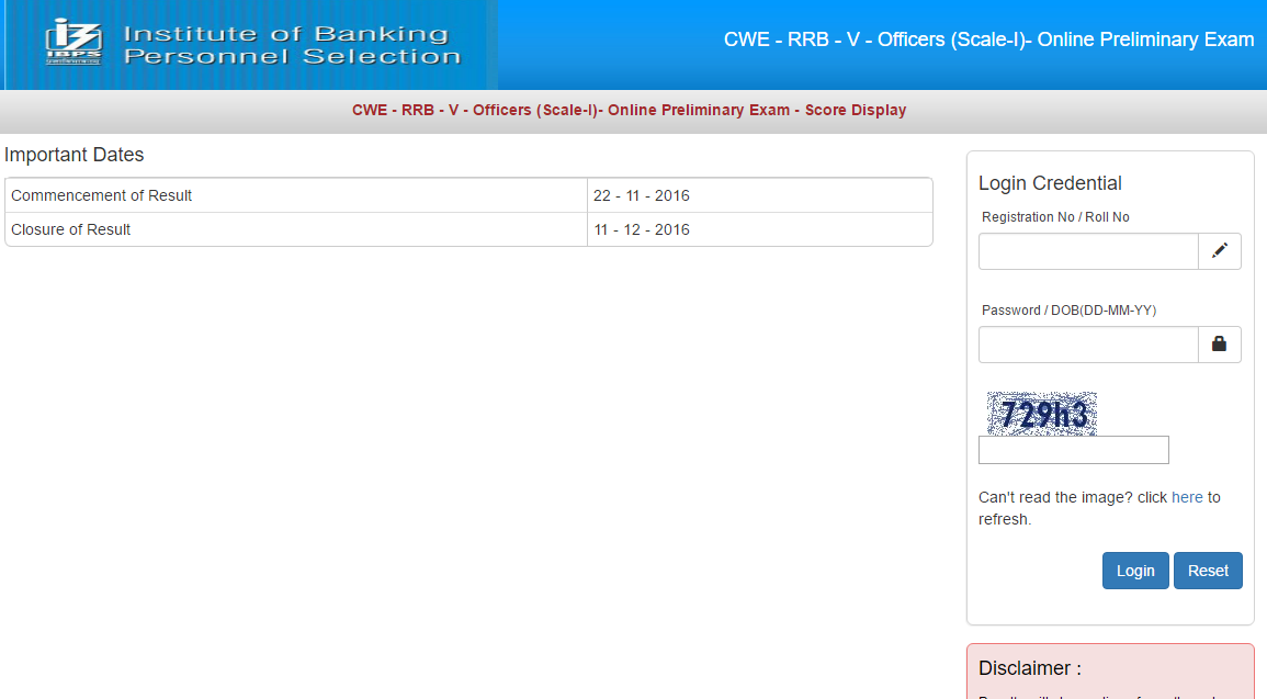 IBPS RRB 5 OÕcers (Scale-I)- Prelims Score-card Released