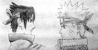 Naruto Uzumaki and Sasuke Uchiha Pencil Drawing